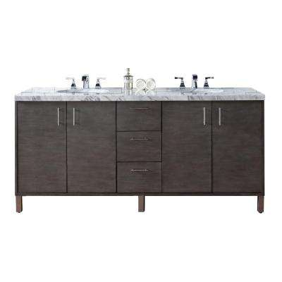 Metropolitan 72 in. W Double Vanity in Silver Oak with Marble Vanity Top in Carrara White with White Basin