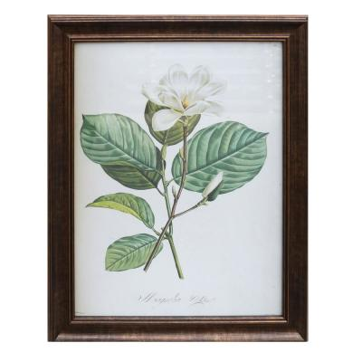 Home Decorators Collection Antiqued Bronze Framed Acrylic Painting White Flower Wall Art 28 in. H x 22 in. W