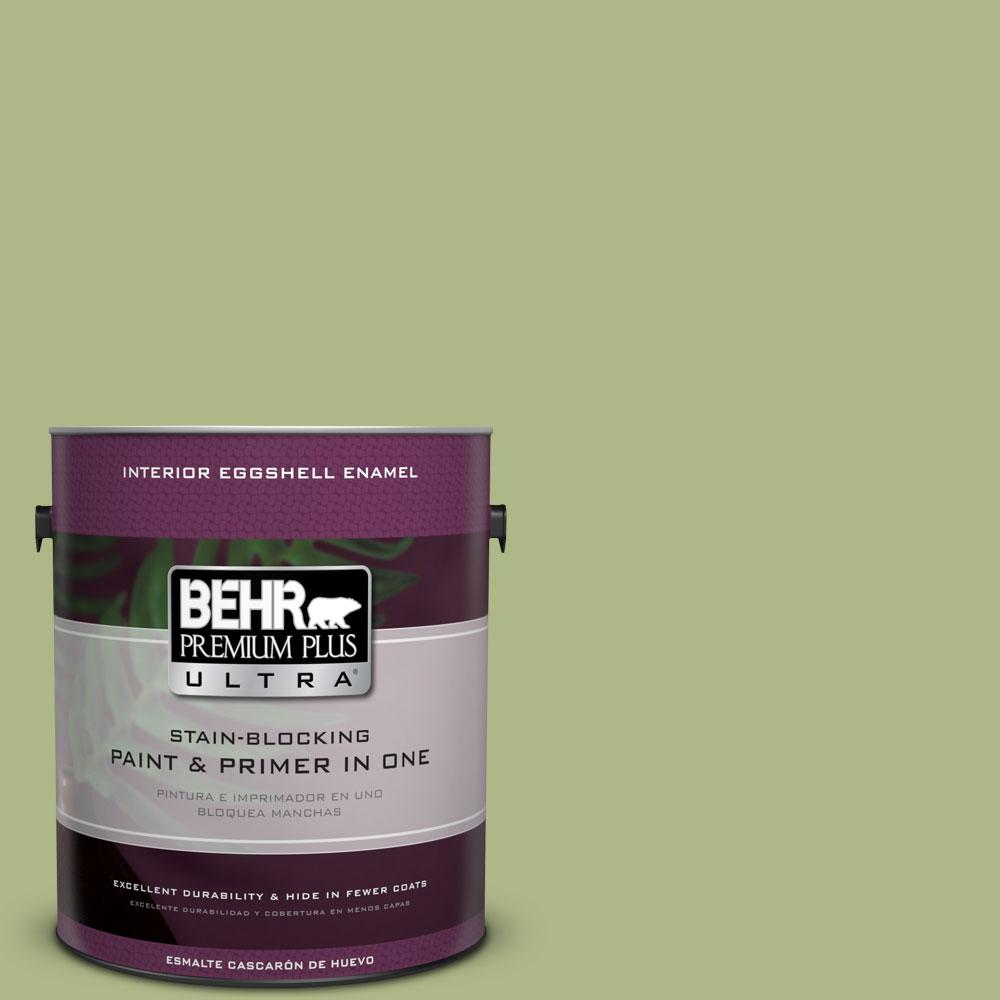 BEHR Premium Plus Ultra 1-gal. #PPU10-7 Lima Green Eggshell Enamel Interior Paint