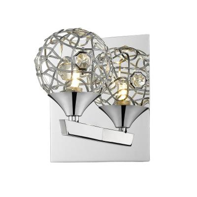 1-Light Chrome Wall Sconce with Chrome Crystal and Steel