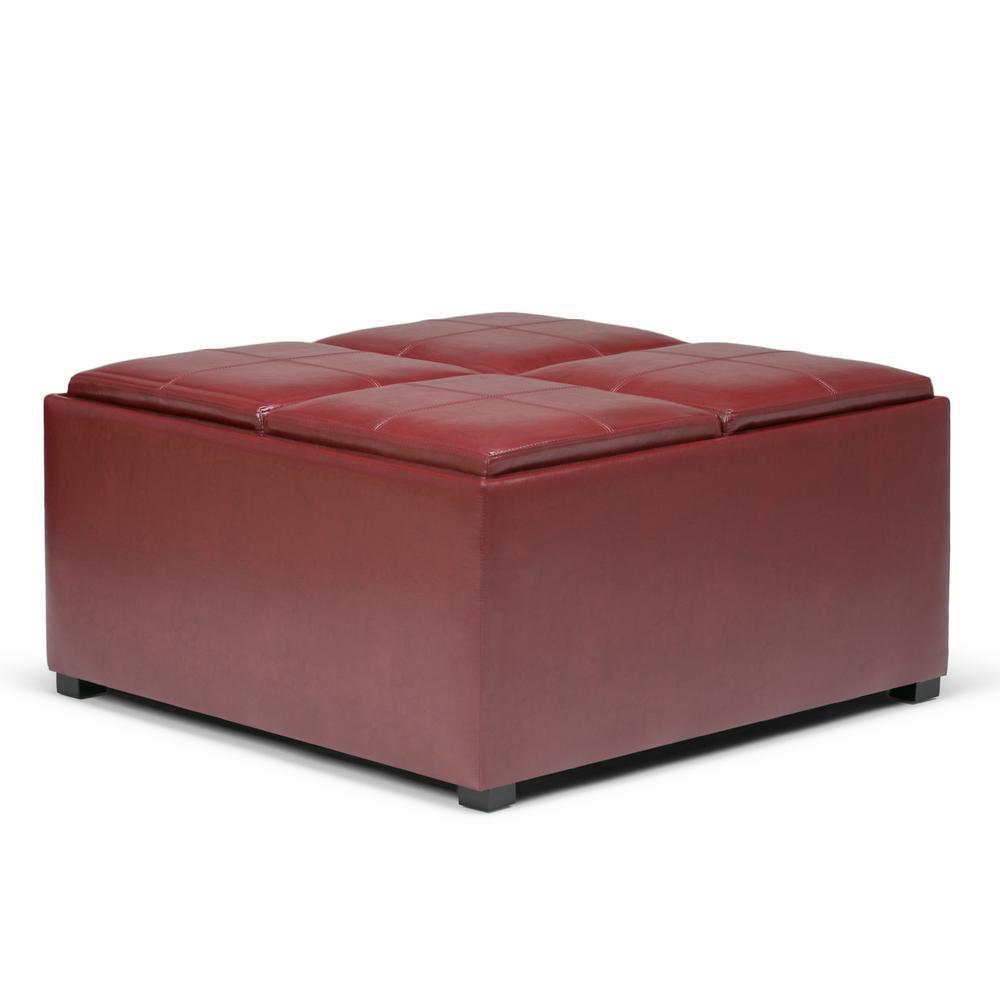 Simpli Home Avalon 35 in. Contemporary Square Storage Ottoman in Radicchio