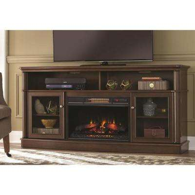 Tolleson 68 in. Media Console Infrared Bow Front Electric Fireplace in Oak