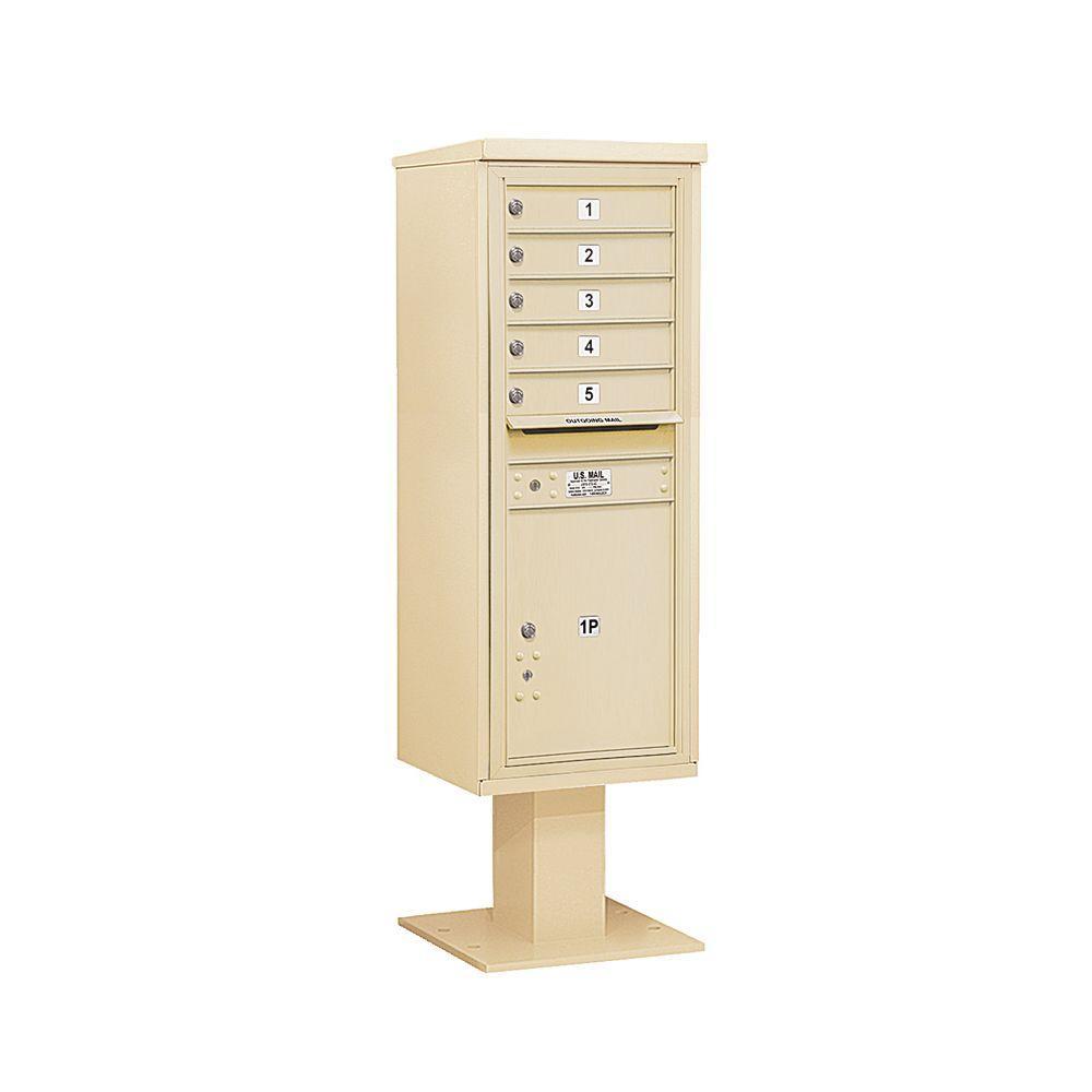 3400 Series 63-1/4 in. 13 Door High Unit Sandstone 4C Pedestal Mailbox with 5 MB1 Doors/1 PL6