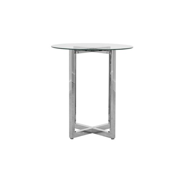 Modus Furniture Amalfi Chrome 32 In Round Glass Top Bar Table 1aj5633g The Home Depot