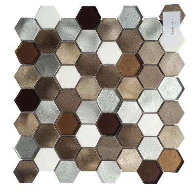 CHENX 11.81 in. x 12.40 in. x 8 mm Aluminum Metal Glass Stone Backsplash in Multi Color (11.19 sq. ft. / case)