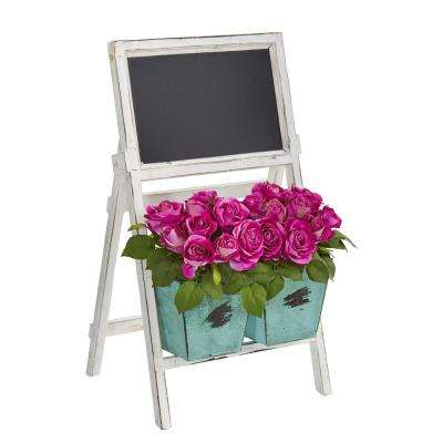 26 in. Indoor Rose Artificial Arrangement in Farmhouse Stand with Chalkboard