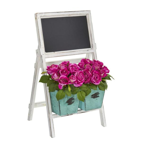 Nearly Natural 26 in. Indoor Rose Artificial Arrangement in Farmhouse Stand with Chalkboard