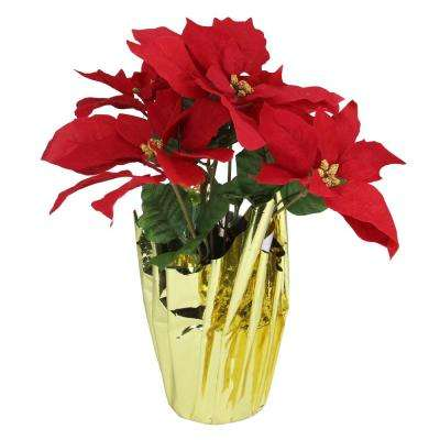 16.5 in. Red Artificial Christmas Poinsettia Arrangement with Gold Wrapped Pot
