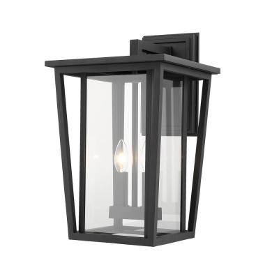 2-Light Black Outdoor Wall Sconce with Clear Glass