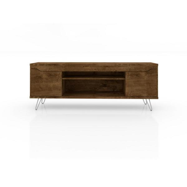 Manhattan Comfort Baxter 62.99 in. Rustic Brown 4-Shelf TV Stand 217BMC9