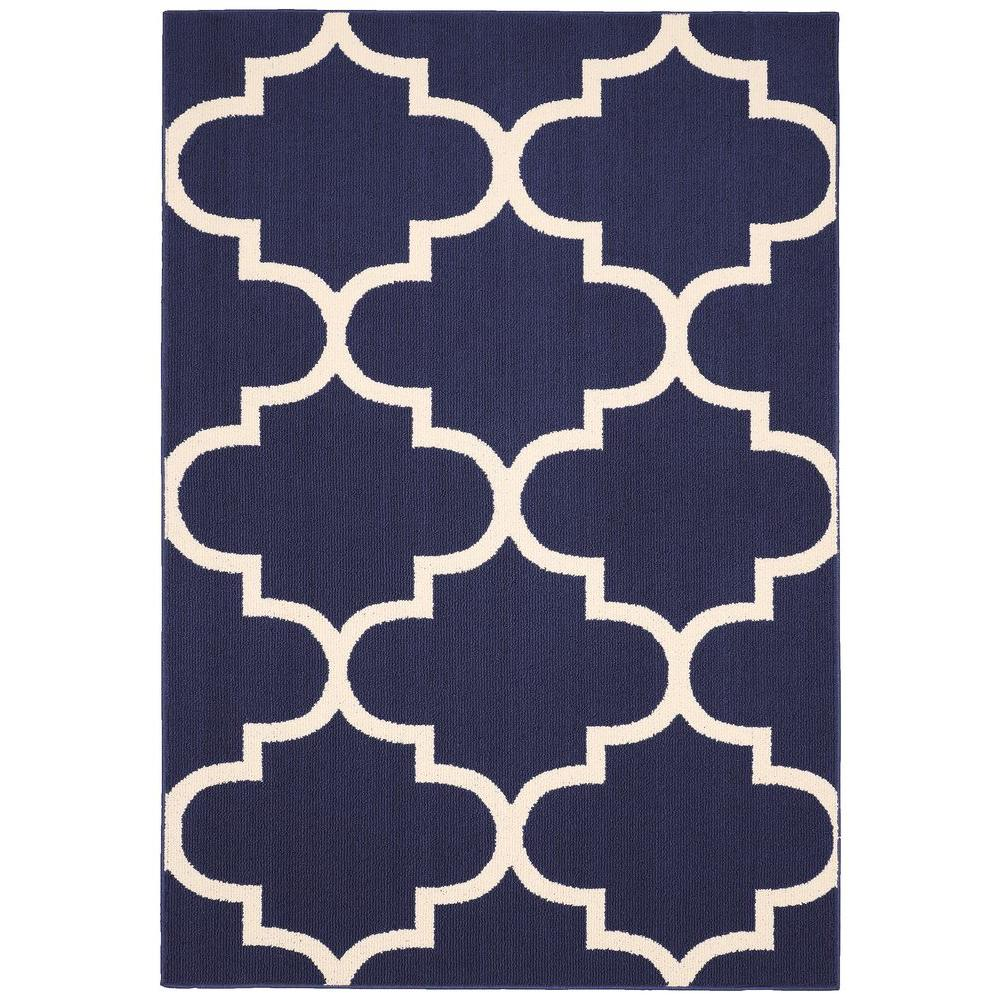 Garland Rug Large Quatrefoil Indigo Ivory 5 Ft X 7 Ft Area Rug Ll240a060084l5 The Home Depot