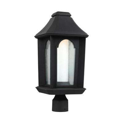 Ellerbee Outdoor Textured Black LED Post Lantern