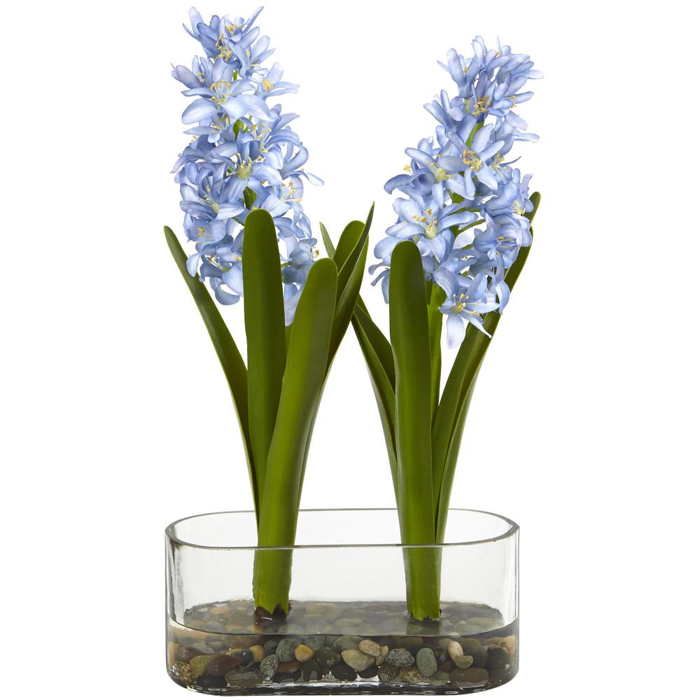 14 in. Indoor Double Hyacinth in Vase Artificial Arrangement