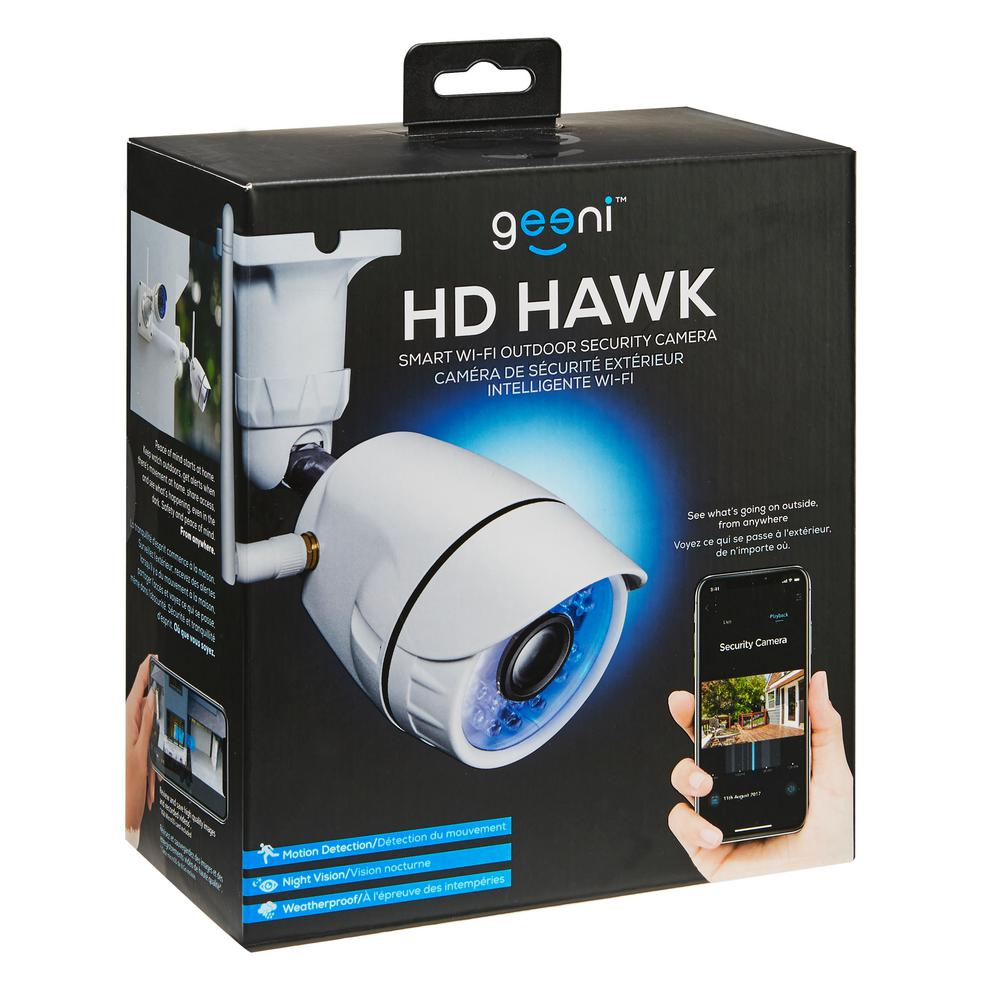 Geeni Hawk Wireless Outdoor Smart Wi-Fi Security Camera with Night Vision,  Motion Alerts, IP66 Weatherproof, White