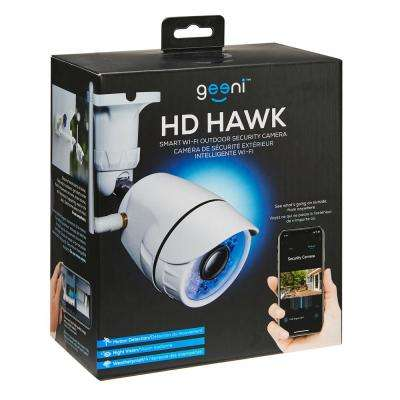 Hawk Wireless Outdoor Smart Wi-Fi Security Camera with Night Vision, Motion Alerts, IP66 Weatherproof, White