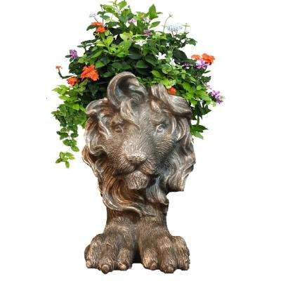 18 in. Graystone Lion Muggly Mascot Animal Statue Planter Holds a 7 in. Pot