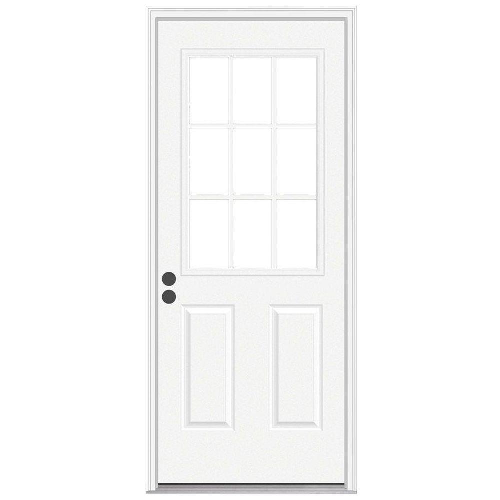 JELD-WEN 30 in. x 80 in. 9 Lite Primed Steel Prehung Right-Hand Inswing Front Door w/Brickmould