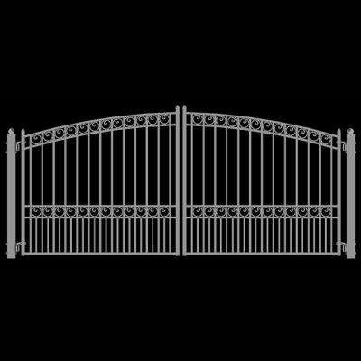 Paris Style 12 ft. x 6 ft. White Steel Dual Swing Driveway Fence Gate