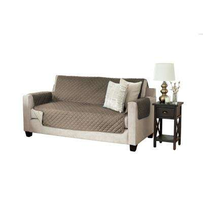 Kaylee Collection Fossil Brown Reversible Quilted Furniture Sofa Protector