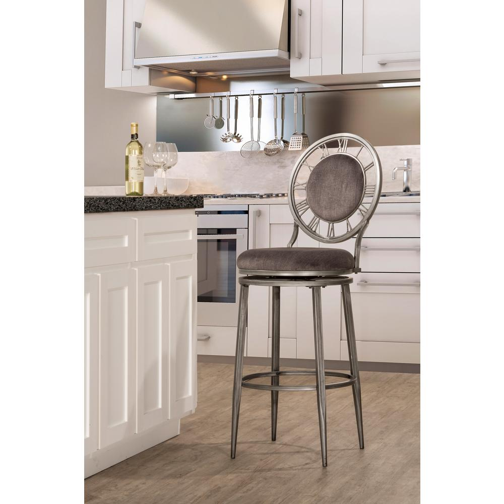 Hillsdale Furniture Big Ben 26 In. Pewter Swivel Cushioned Bar  Stool 5905 826   The Home Depot