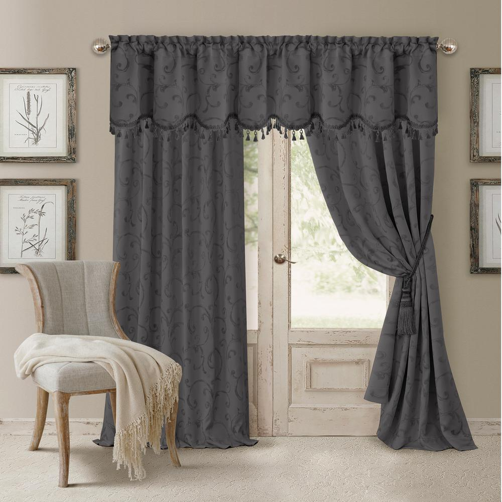 Blackout Gray Blackout Energy Efficient Room Darkening Rod Pocket Window Curtain