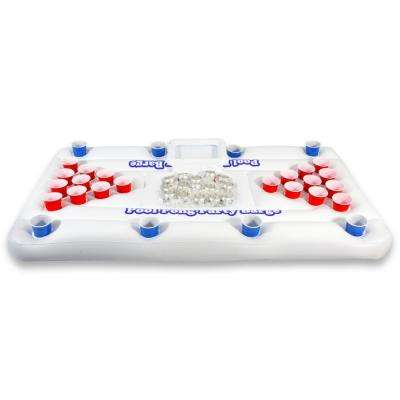 6 ft. White Pool Party Barge Floating Beer Pong Table with Cooler