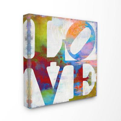 "30 in. x 30 in. ""Love Painted Textured Rainbow Background Typography""by Artist Jamie MacDowell Canvas Wall Art"