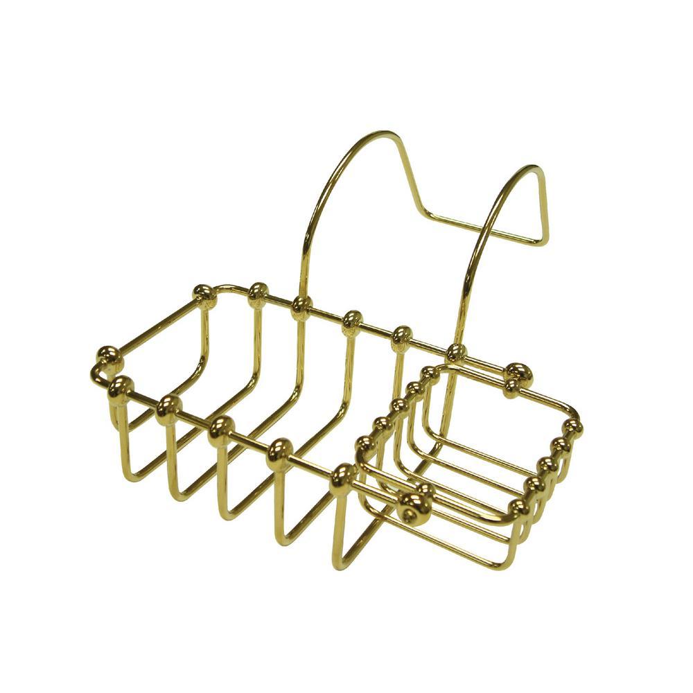 Swivel Soap and Sponge Claw Foot Bathtub Caddy in Polished Brass