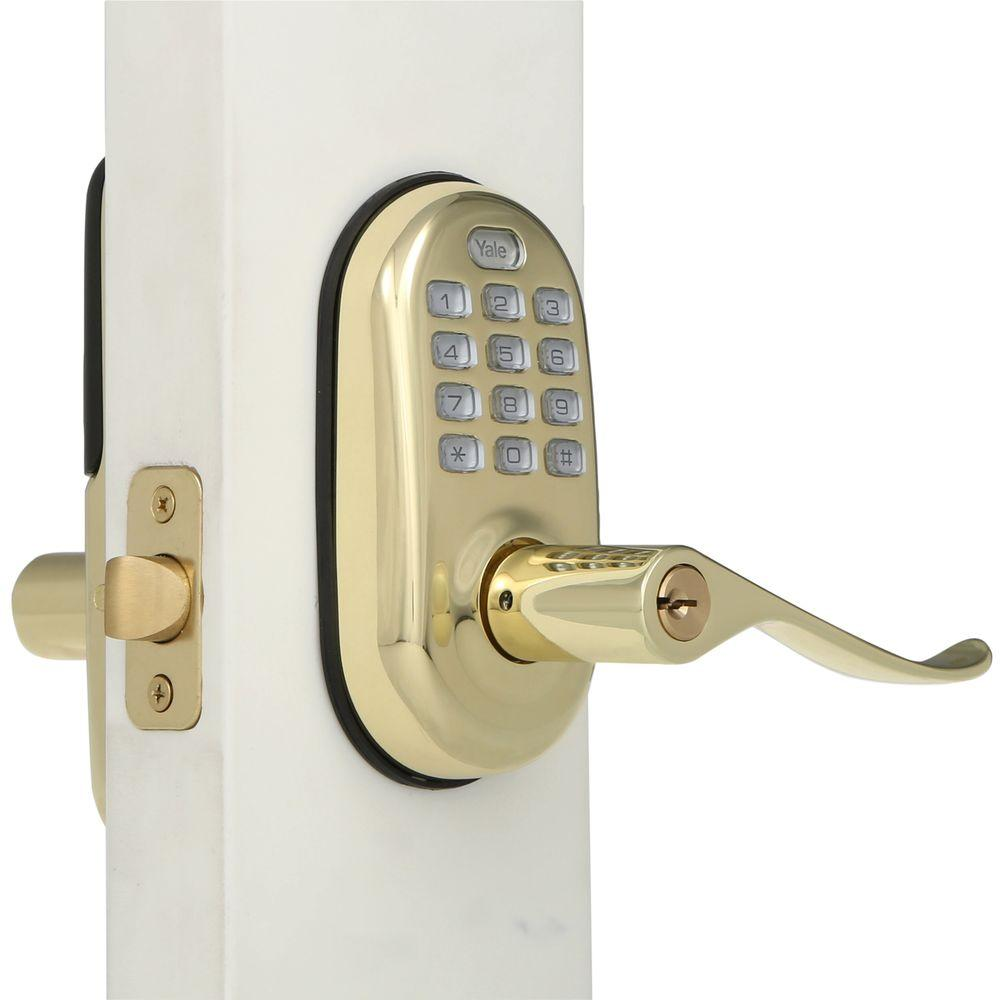 Yale Real Living Push Button Polished Brass Door Lever