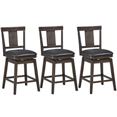 24 in. Brown Height Back Wood Frame Counter Height Swivel Bar Stool with Leather Seat(Set of 3)