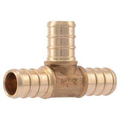 1/2 in. Brass PEX Barb Tee (10-Pack)