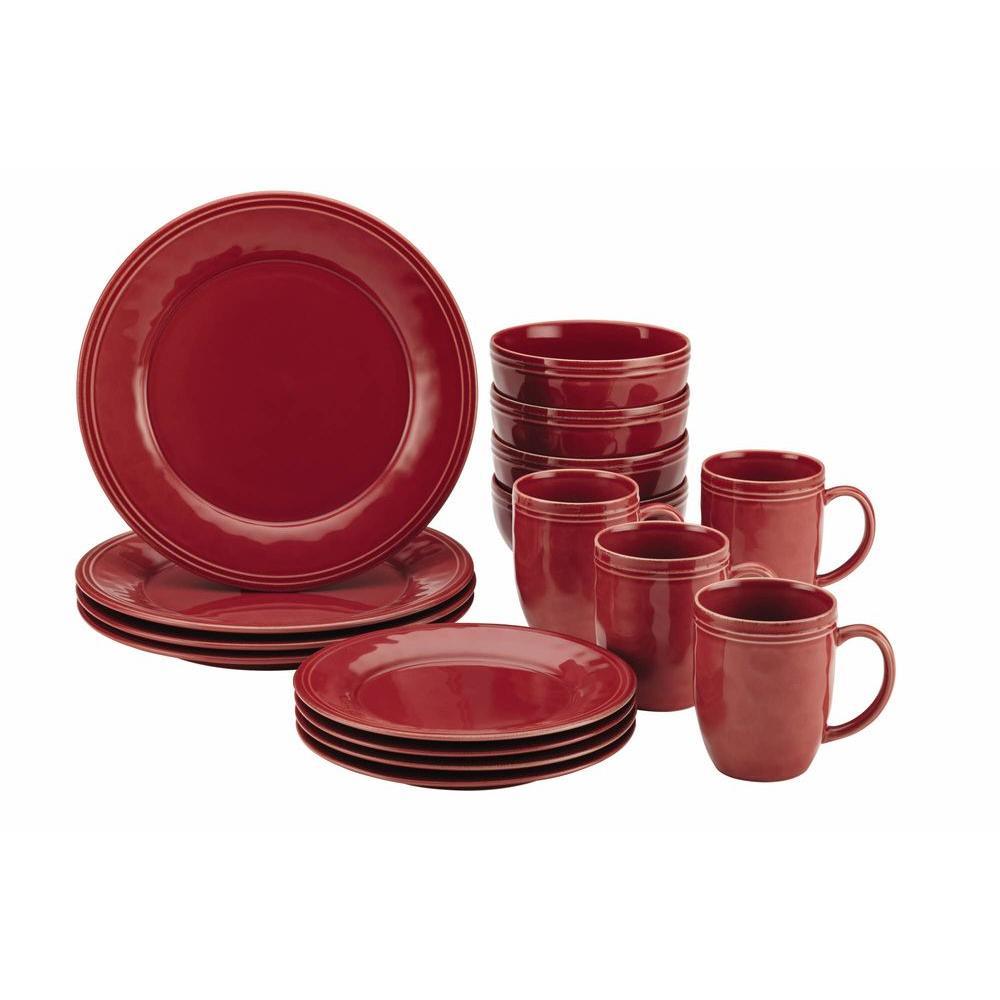 Rachael Ray Cucina Dinnerware 16-Piece Stoneware Dinnerware Set in Cranberry Red by Rachael Ray