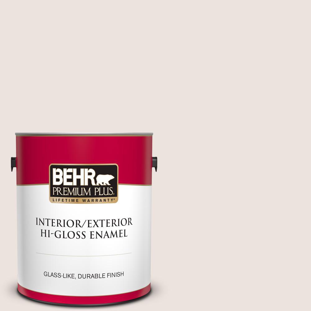 Behr Premium Plus 1 Gal Rd W07 Cave Pearl Hi Gloss Enamel Interior Exterior Paint 805001 The Home Depot