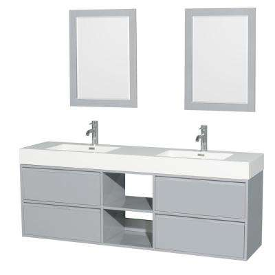 Daniella 72 in. W x 18 in. D Vanity in Dove Gray with Acrylic Vanity Top in White with White Basins and 24 in. Mirrors