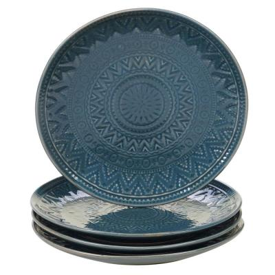 Aztec 4-Piece Patterned Multi-Colored Stoneware 9 in. Salad Plate Set (Service for 4)