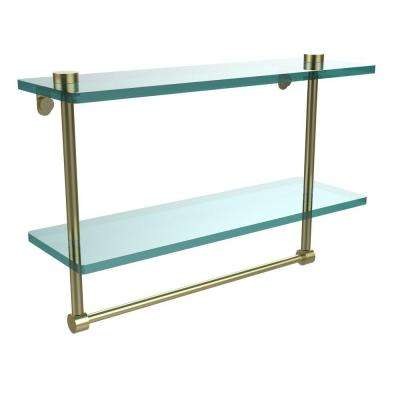 16 in. L  x 12 in. H  x 5 in. W 2-Tier Clear Glass Vanity Bathroom Shelf with Towel Bar in Satin Brass