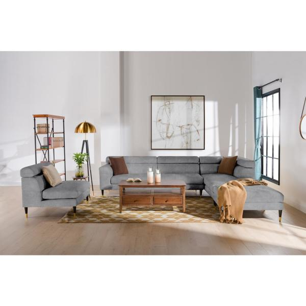 Bartelt Platinum Grey Performance Velvet RAF Modular Modern Sectional Chaise Sofa