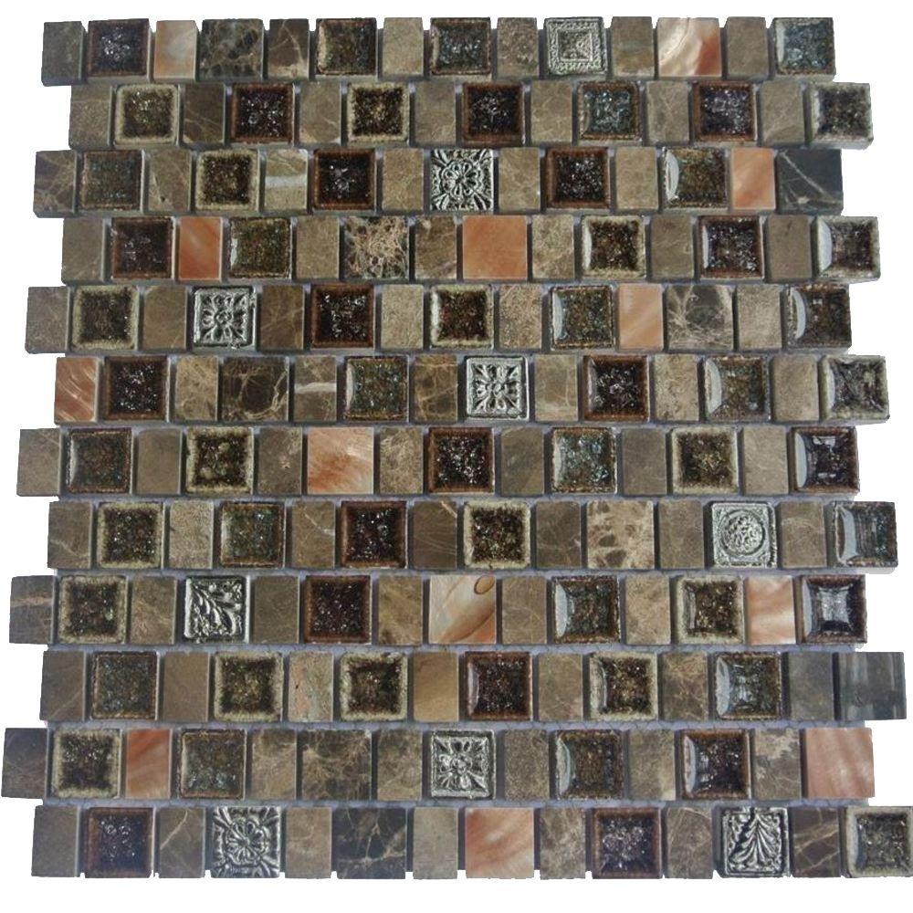 Ivy Hill Tile Charm II Forest 12 in. x 12 in. x 8 mm Glass and Stone Mosaic Tile