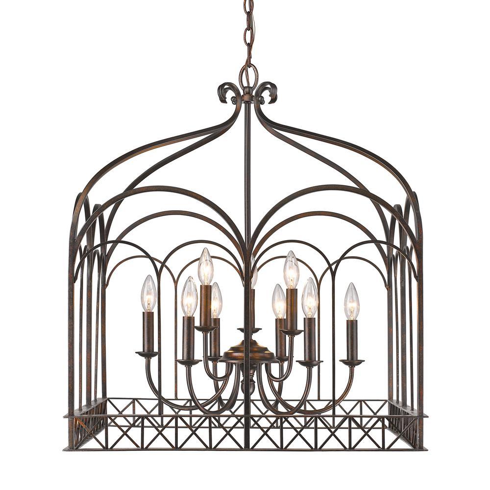 Golden Lighting Gateway 9 Light Fired Bronze Chandelier