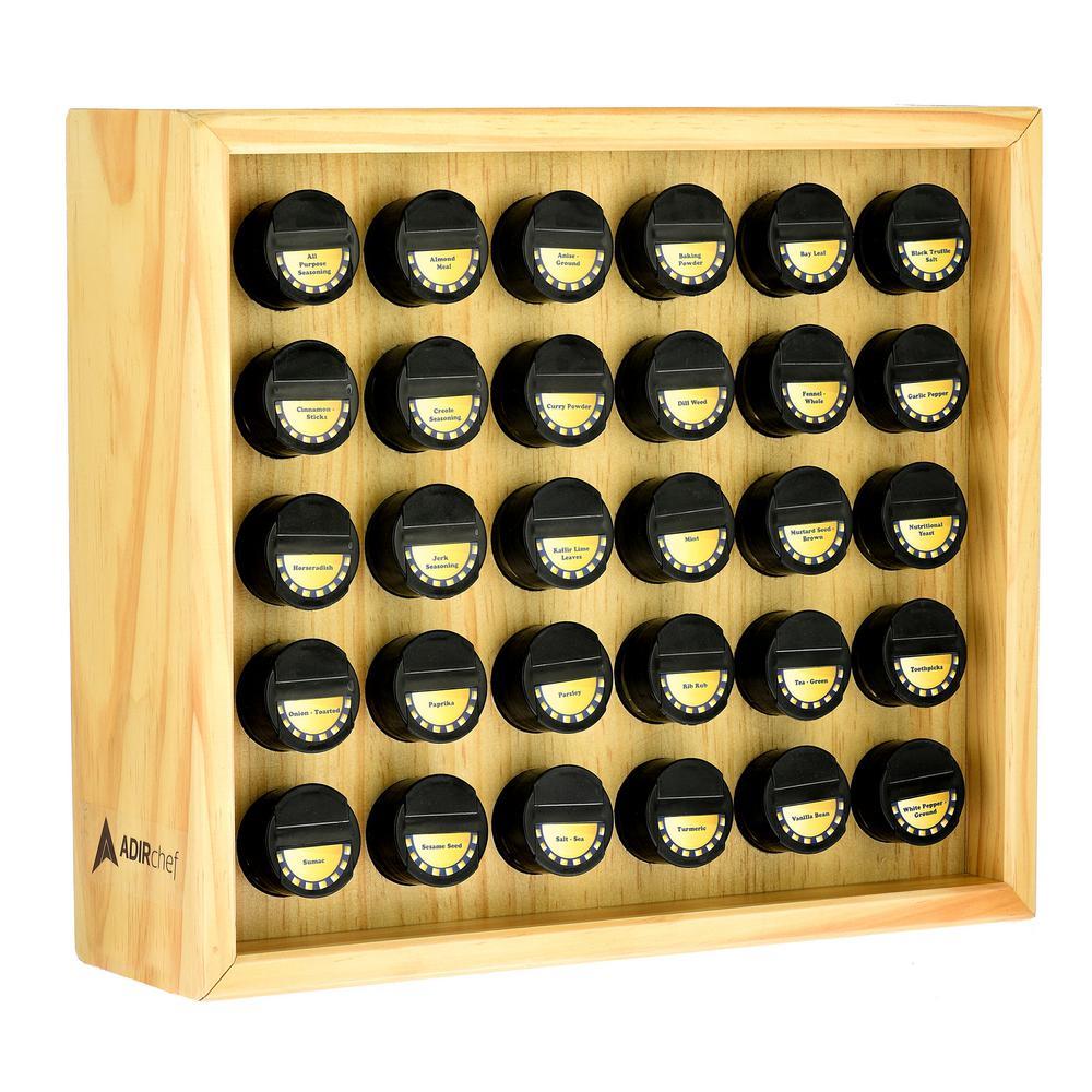 AdirHome 30.4 oz. Jars Maple Wood Spice Rack (31-Piece) 801-30-MPL