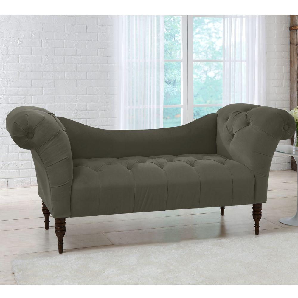 savannah pewter velvet tufted chaise lounge 6006vpew the home depot. Black Bedroom Furniture Sets. Home Design Ideas