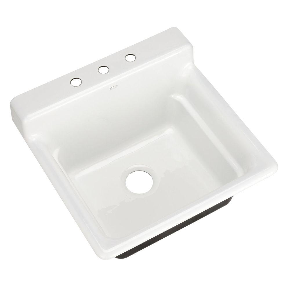 KOHLER Bayview Self-Rimming Cast Iron 25.5 in. 3-Hole Single Bowl Utility Sink in White