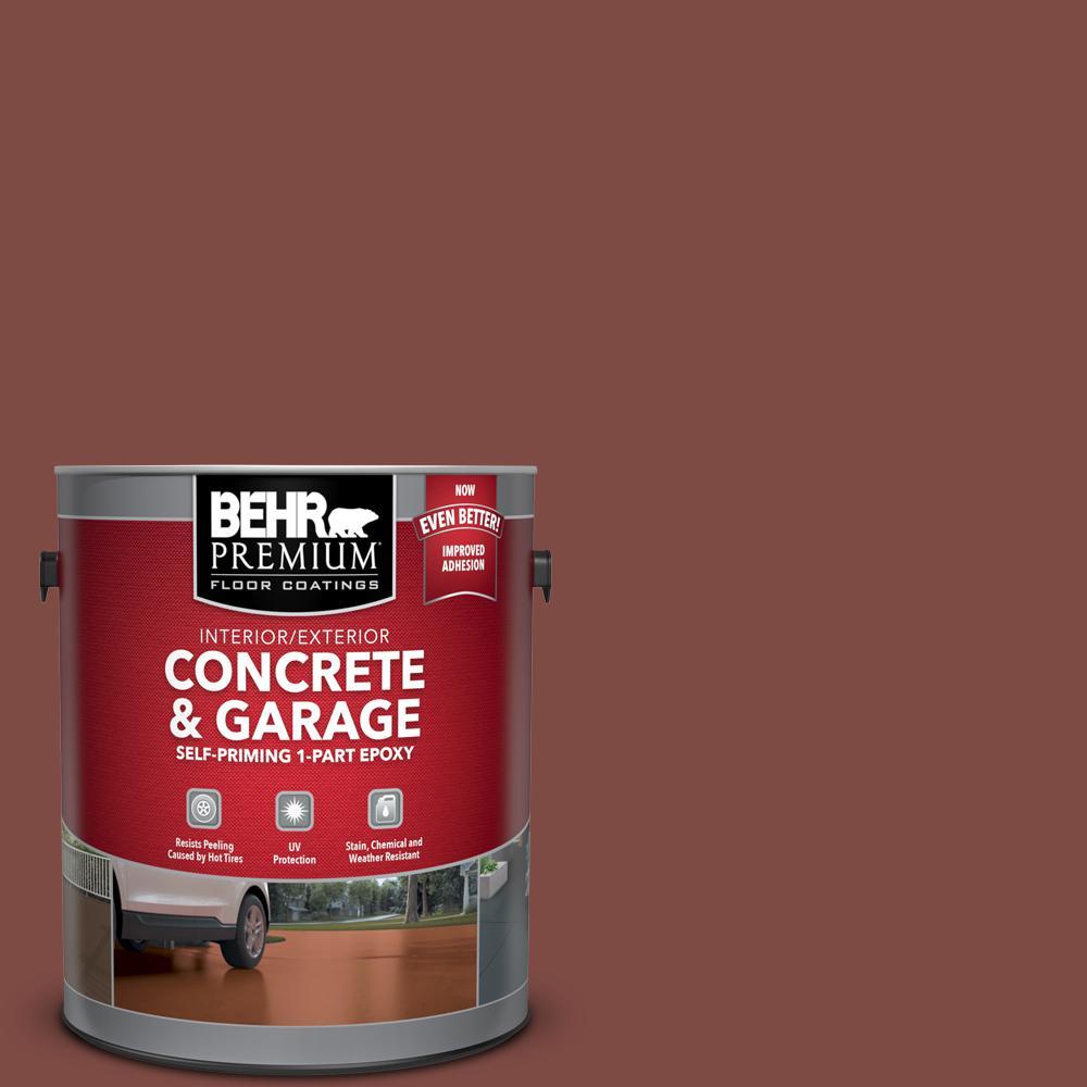1 gal. #PFC-02 Brick Red Self-Priming 1-Part Epoxy Satin Interior/Exterior Concrete and Garage Floor Paint