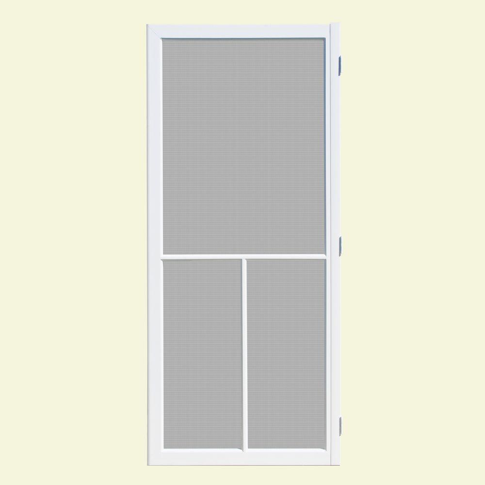 Unique Home Designs 32 In. X 80 In. Hampton White Outswing Vinyl Hinged  Screen