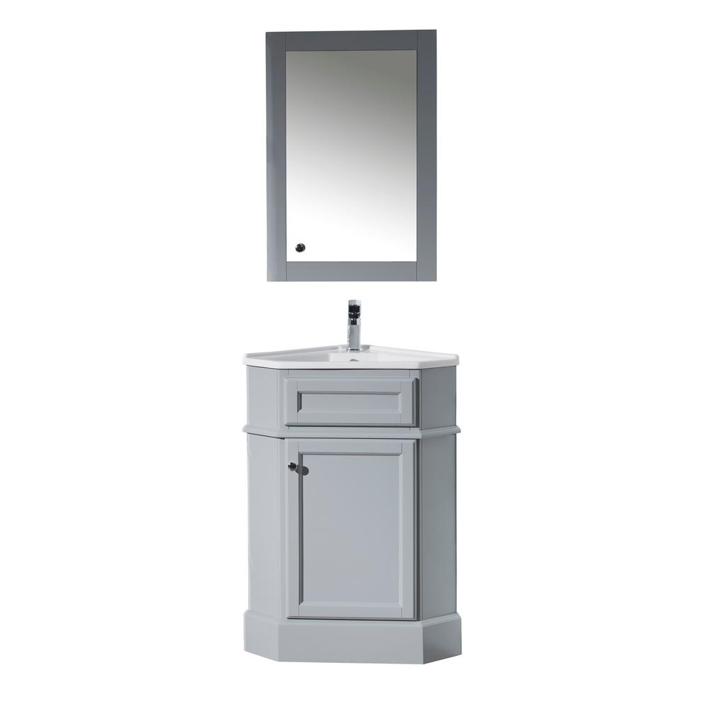 Stufurhome Hampton 27 In W X 18 In D Corner Vanity In Grey With Porcelain Vanity Top In White