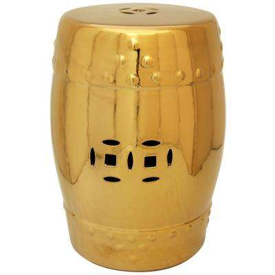 Oriental Furniture 18 in. Solid Gold Porcelain Garden Stool