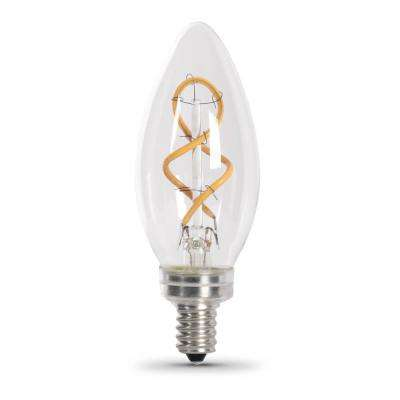 25-Watt Equivalent B10 Dimmable Candelabra Clear Glass Vintage LED Light Bulb with Spiral Filament Soft White (1-Bulb)