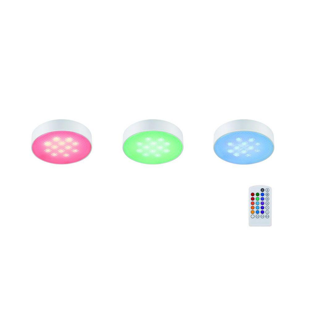 Getinlight Led Puck Lights Kit: Commercial Electric 3-Light LED RGB Puck Light Kit