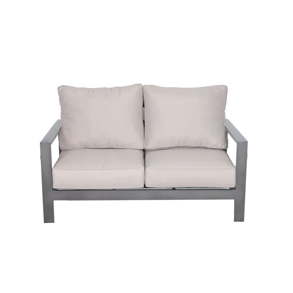 Tahiti Patio Aluminum Outdoor Loveseat with Olefin Light Grey/Silver Cushions