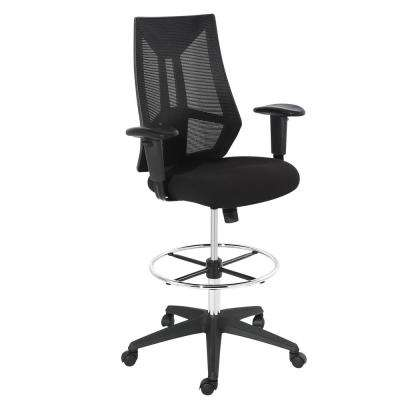 Benicia Drafting Black Chair in Soft-Touch Fabric